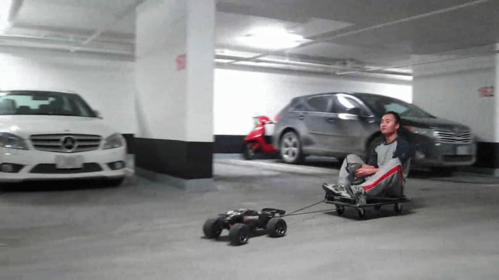 RC Car Pulling Man