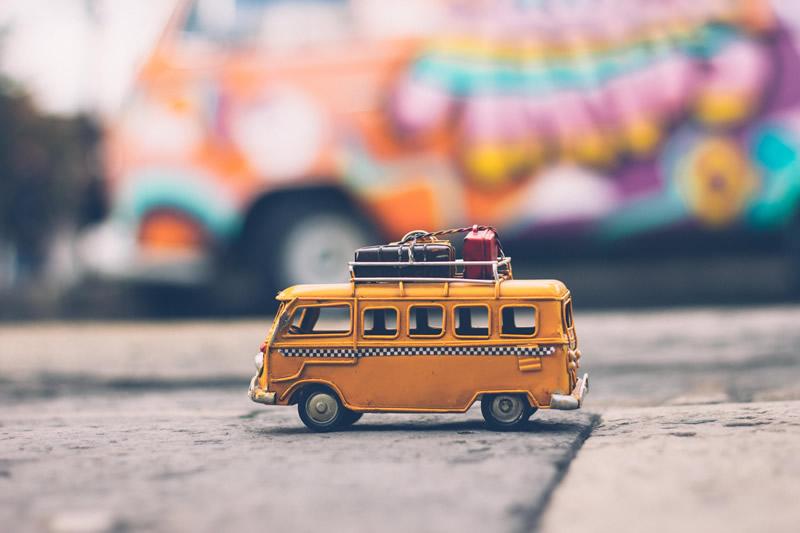 Camper van loaded for a road trip.