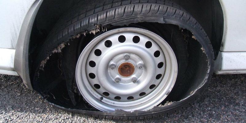 Broken tyre