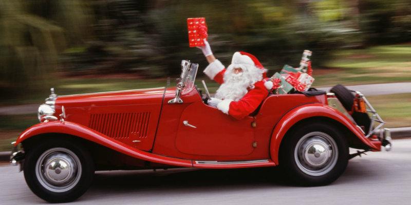 Santa Claus in a car